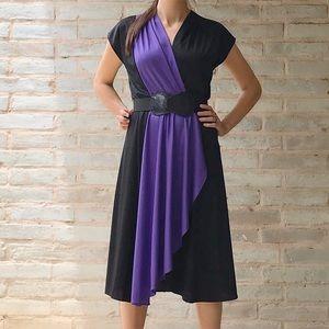 Vintage Wrap Dress Purple Black Faux Wrap 80s Midi